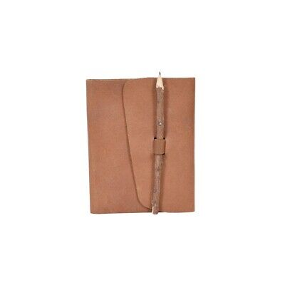 Handmade Natural Leather Unlined Diary with Natural Pencil