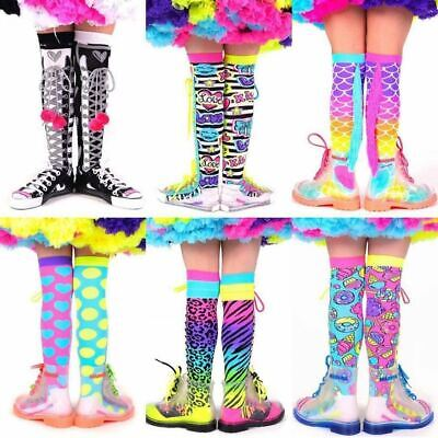 MadMia Socks Girls + Adults Knee High Crazy Colourful Dance Rave Punk Lace Ups