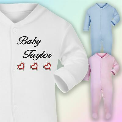 Baby Name Hearts Embroidered Baby Sleepsuit Gift Personalised New Arrival