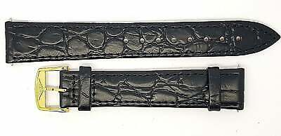 New 18mm Black Croc Grain Genuine Leather Watch Strap G/P Buckle For Longines