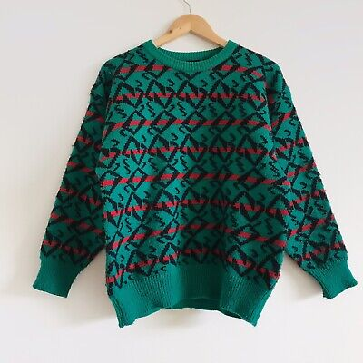 Vintage 80s 90s Red Green Abstract Geometric Pattern Knit Jumper Cosby Sweater