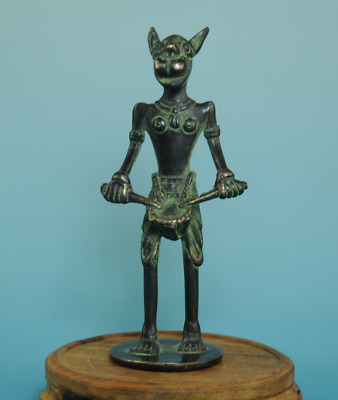 Delicate old china bronze hand-made Animal head person antique statue Ab02A