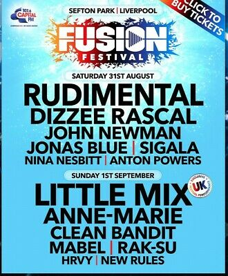 2 Fusion festival tickets (Liverpool) Sunday 1st September ... Please read