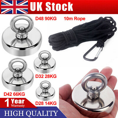 28/66kg Pull Salvage Strong Recovery Magnet Fishing Treasure Neodymium with Rope