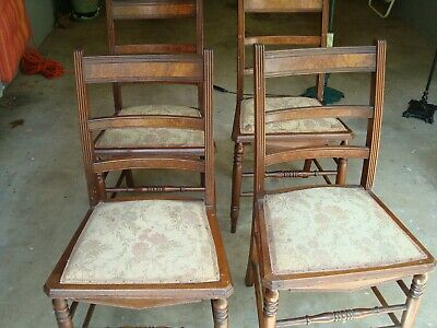 Set of 4 Antique Walnut Chairs - Local Pickup