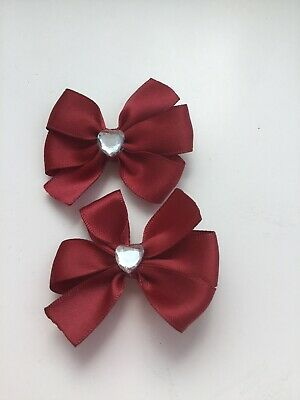 "2 Flower Girls School Small 2"" Girls Burgundy Hair Bow Clips & Sparkly Heart"