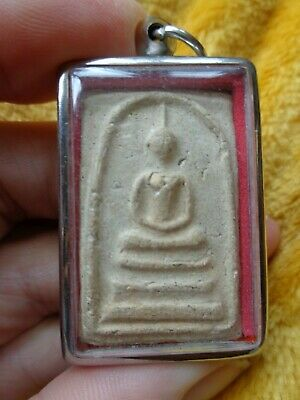 Thai Cased Throned Buddha  Amulet  Charm Pendant Unusual Back Design