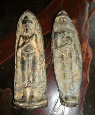 Two Antique Lead Standing Ayutthayan Buddha Shrine Amulets