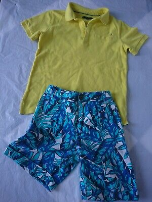 M&S boy summer outfit polo tshirt shorts 7-8 years great condition