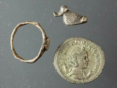Set of 3 silver items: duck, ring, Herennia Etruscilla, Roman,2nd–3rd Century AD