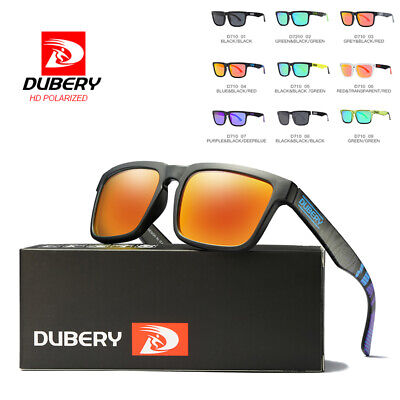 DUBERY Mens Womens Vintage Polarized Sunglasses Driving Sports Square Outdoor