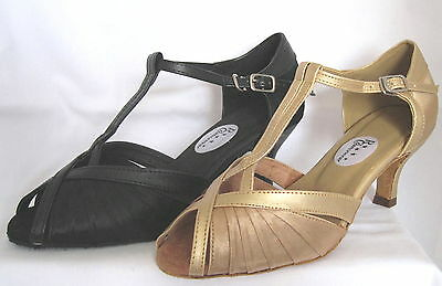 Ladies Black or Gold Ballroom, Latin, Salsa, Jive  Dance Shoes - UK Sizes 3 - 8
