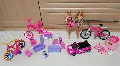 Barbie dolls bundle and doll house furniture and bicycle and car
