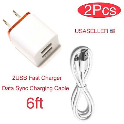 Dual Wall Charger Adapter+USB Data Sync Charging Cable Cord For iPhone 6 7 8 X.