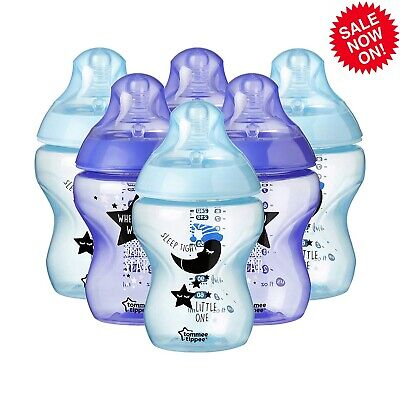 6Pack Tommee Tippee Baby Feeding Bottles Closer to Nature 260ml 9oz Decorated