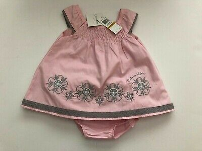 NWT Calvin Klein smocked Pink /gray baby girls dress with bloomers  size 0-3 mo.