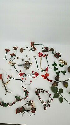 40 Pc Vintage Craft Millinery Picks  Pine Cones & Berries Corsage Floral Holly