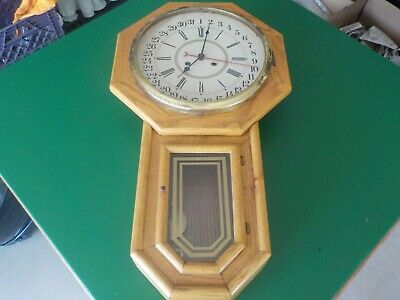 Authentic oak school house wind up clock with chimes handmade  (SB)