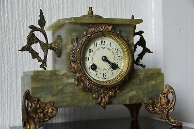 Antique French 8 Day Striking marble mantle clock  in working condition