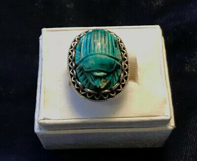 Vintage To Antique Scarab Turquoise Sterling Silver Ring