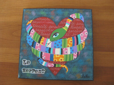 Year of the snake,acryl,naive malerei,serpent,herz,schlange,kinderzimmer,oilily