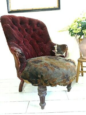 Antique Howard Style button back tub salon or bedroom chair for upholstery