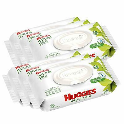 HUGGIES Natural Care Unscented Baby Wipes, Sensitive,6 Disposable Flip-top Packs