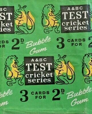 A&BC c.1960 TEST CRICKET SERIES GUM CARD WAX WRAPPER FLAWED & COMPLETE CONDITION