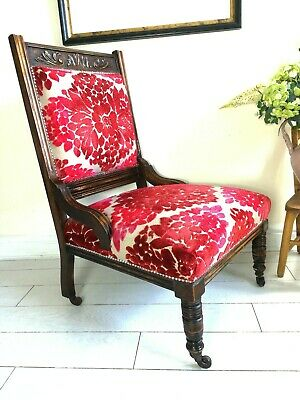 Victorian Carved Oak Library Chair on castors
