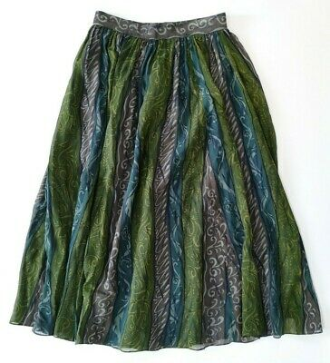 Laura Ashley Vintage Long Silk Skirt 1980s Size UK 12 / 14 Green Mix Lined