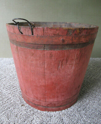 Antique Sap Bucket Primitive Maple Syrup Wood Pail Orig Red Paint Hanging Loop