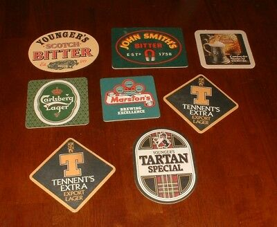 Vintage Lot of 8 Mixed ENGLISH Pub Beer Advertising Bar Coasters From 1990