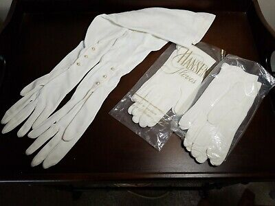 Vtg  Ladies White_Ivory Gloves 3 pair. (1)Elbow length w/ pearls - theater