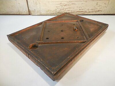 AAFA 19th c Primitive Gameboard Antique Wood Marble Game Tic Tac Toe