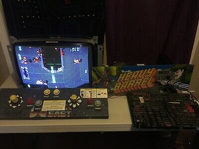 Heavy Barrel JAMMA Arcade PCB, Control Panel With Rotary Joysticks and Marquee.