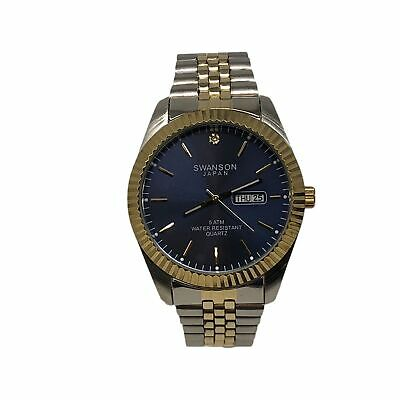 NEW! Men's Swanson Japan Watch  BLUE  Dial 45mm -Two Tone Band One Stone