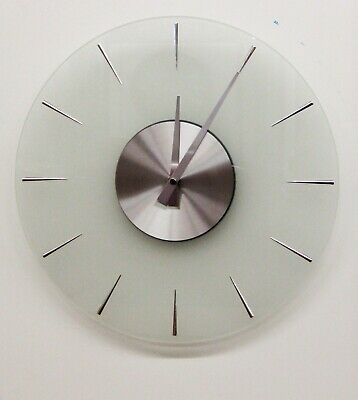"""Hermle  Hm 31004  New 14"""" All  Glass Round Non Chiming Wall Clock"""