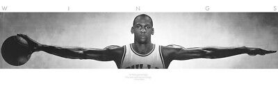 Michael Jordan Wings Black & White Poster 21 x 62