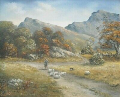 Gwyneth Tomos (Welsh) - Oil Painting - Snowdonia Landscape With Shepherd & Sheep