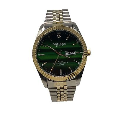 NEW! 45 MM Men's Swanson Japan Watch  GREEN Dial -Two Tone Band One Stone