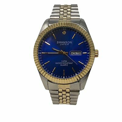 NEW! Men's Swanson Japan Watch  Royal Blue Dial 45mm  -Two Tone Band One Stone