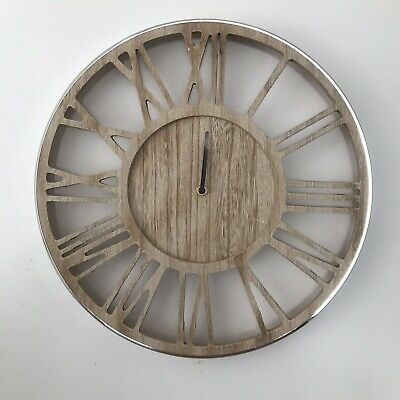 Shabby Chic Large Wooden and Silver Wall Clock with  Roman Numerals 40cm