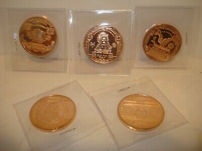 Lot of 5 American Bills Copper 1 oz .999 Each Art Round Great Condition