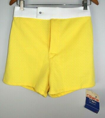 NWT NOS Vintage 60s Catalina Men's Lined Swim Trunks Size 32 Yellow Swimming