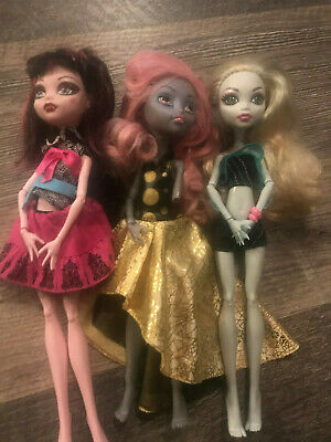 Monster HIGH Doll Lot 3 Draculaura, Lagoona, Mousecedes