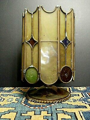Antique 1920's Leaded Glass Jeweled Ceiling Light Needs Wired