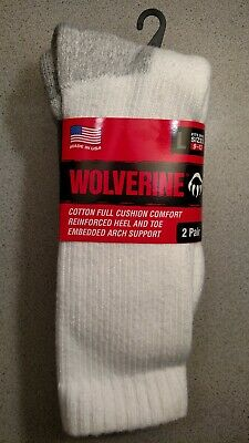 6 Pair Wolverine Men's White Large 10-13 Cushioned Steel Toe Boot Sock  Usa Made