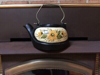 Antique Hand Painted Floral Cast Iron Tea Kettle Pot Wood Stove Humidifier Nice!