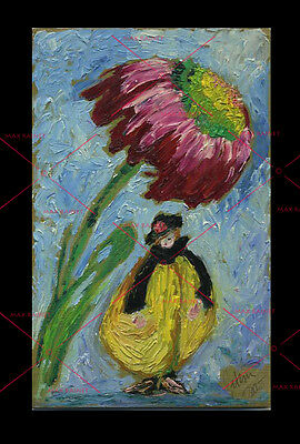 """""""When the Wind Blows"""" by C Peterson 2005 Fairy Nymph Flower Oil Painting signed"""