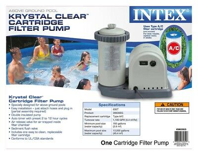 Intex 28635EG Krystal Clear Cartridge Filter Pump, 1500 GPH Pump Flow Rate. New.